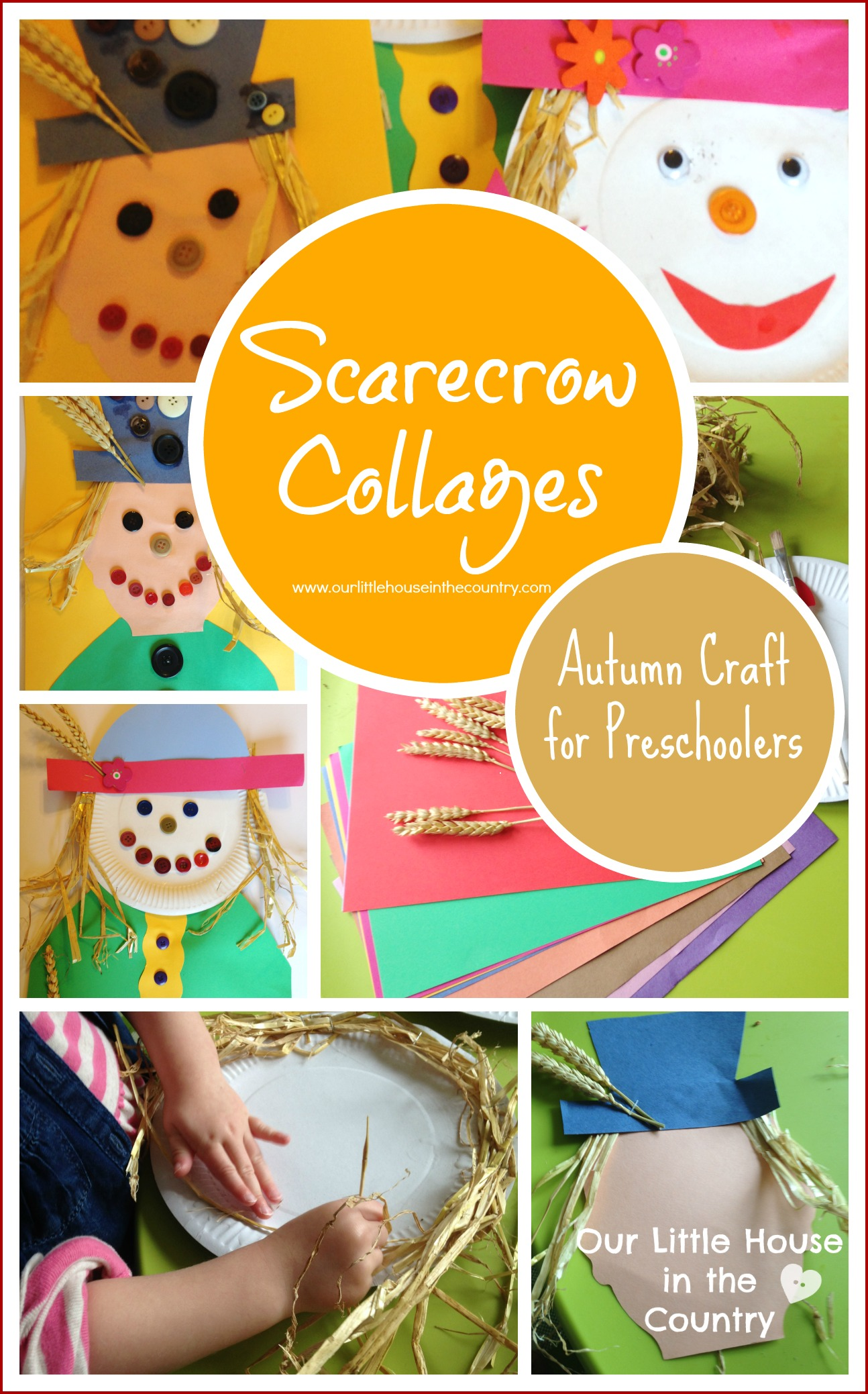 Scarecrow Collages Autumn Fall Crafts For Kids