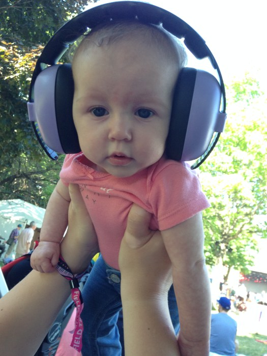 Even at the back, hearing protection is KEY for the kiddies.