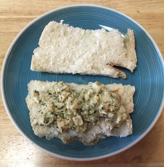 chicken-pesto-mixture-on-sandwich
