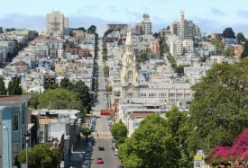 View along Filbert Street towards Russian Hill from the bottom of Coit Tower