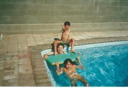 Water baby Joan with grandkids Erin & Gavin