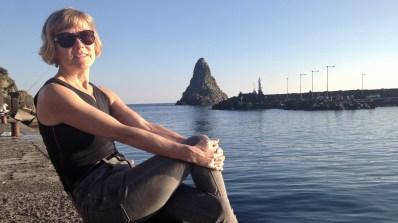 Hilary at Aci Trezza