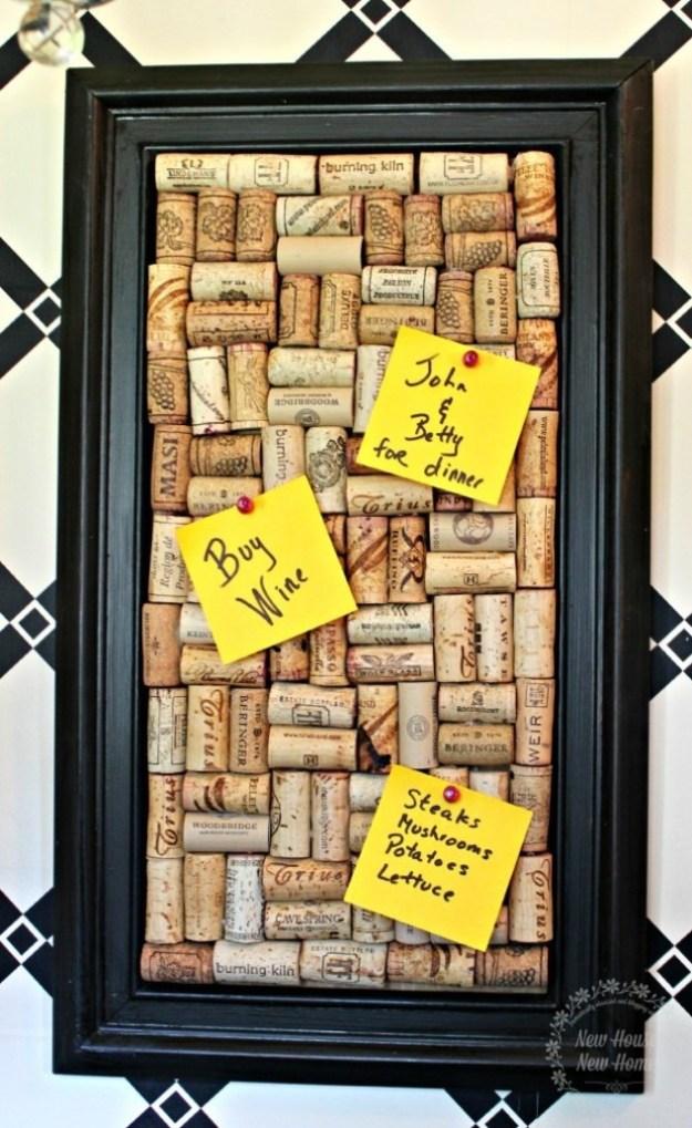 DIY Wine Corks Craft Projects -memo board