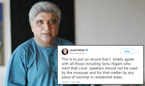 Javed Akhtar says 'loud speakers should not be used by the mosques', supports Sonu Nigam