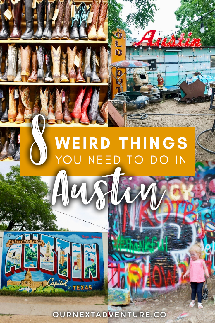 """""""Keep Austin Weird"""" by exploring these 8 awesomely weird things to do in Austin, Texas. #austin #texas #atx #keepaustinweird #unitedstates #familytravel #travelwithkids // Family Travel   Travel with Kids   Vacation Ideas   US Travel   Austin Weekend Trip   Best Cities in Texas   Austin Street Art   South Congress   Alternatives Things to Do in Austin   Best Cities in US for Families   Best Things to Do in Austin   Where to Eat in Austin   Family-Friendly Itinerary"""