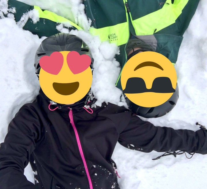 Ms ONL and Mr ONL in the snow