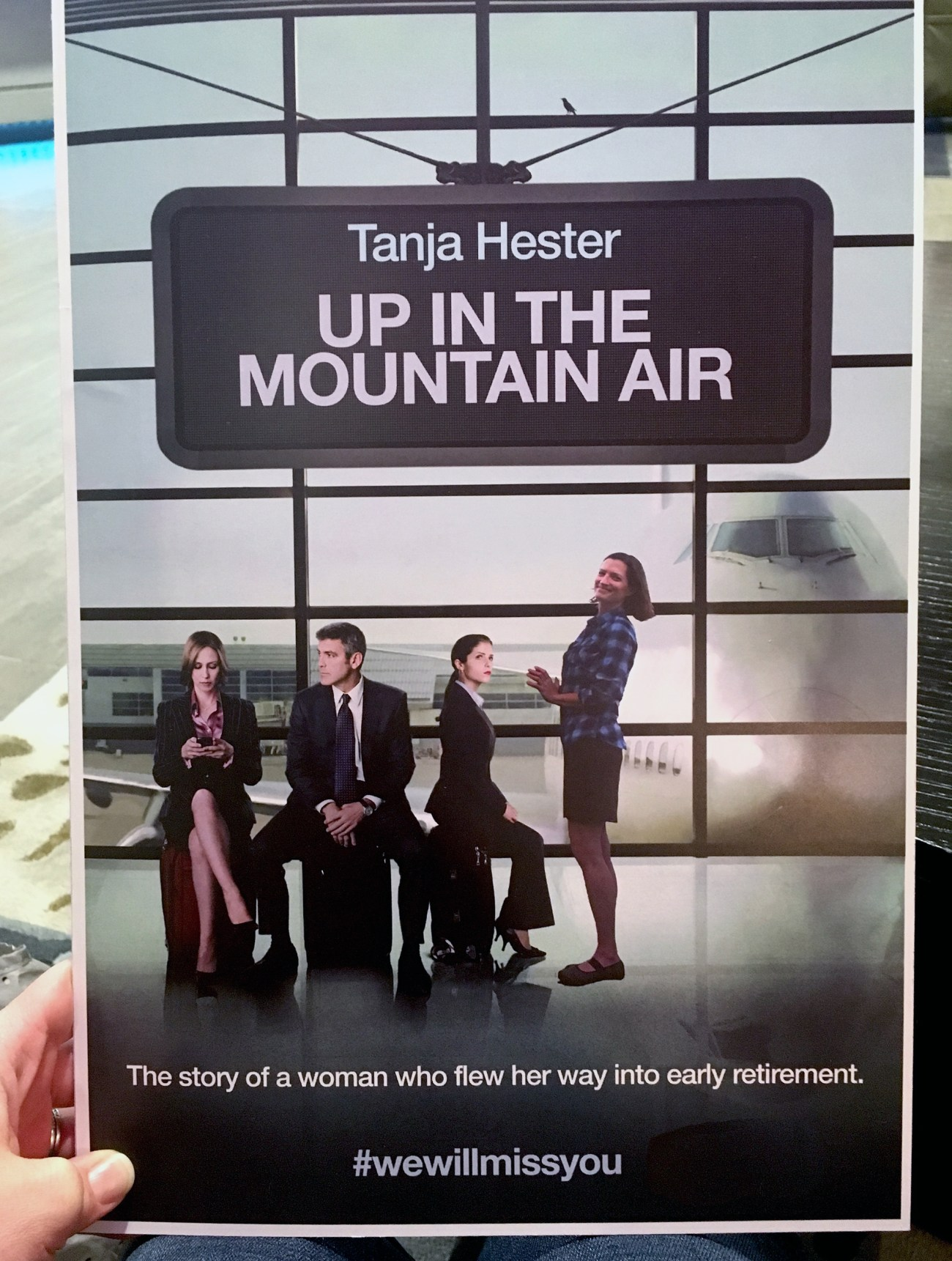 Tanja plus the cast of Up In the Air (George Clooney! Anna Kendrick!), in a fun going away card. We retired early! Our Next Life begins -- We achieved early retirement at the ages of 38 and 41, and now we begin the next chapter!