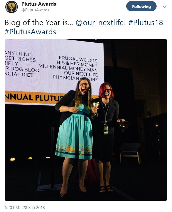Tanja Hester of Our Next Life wins the Plutus Award for Blog of the Year for 2018