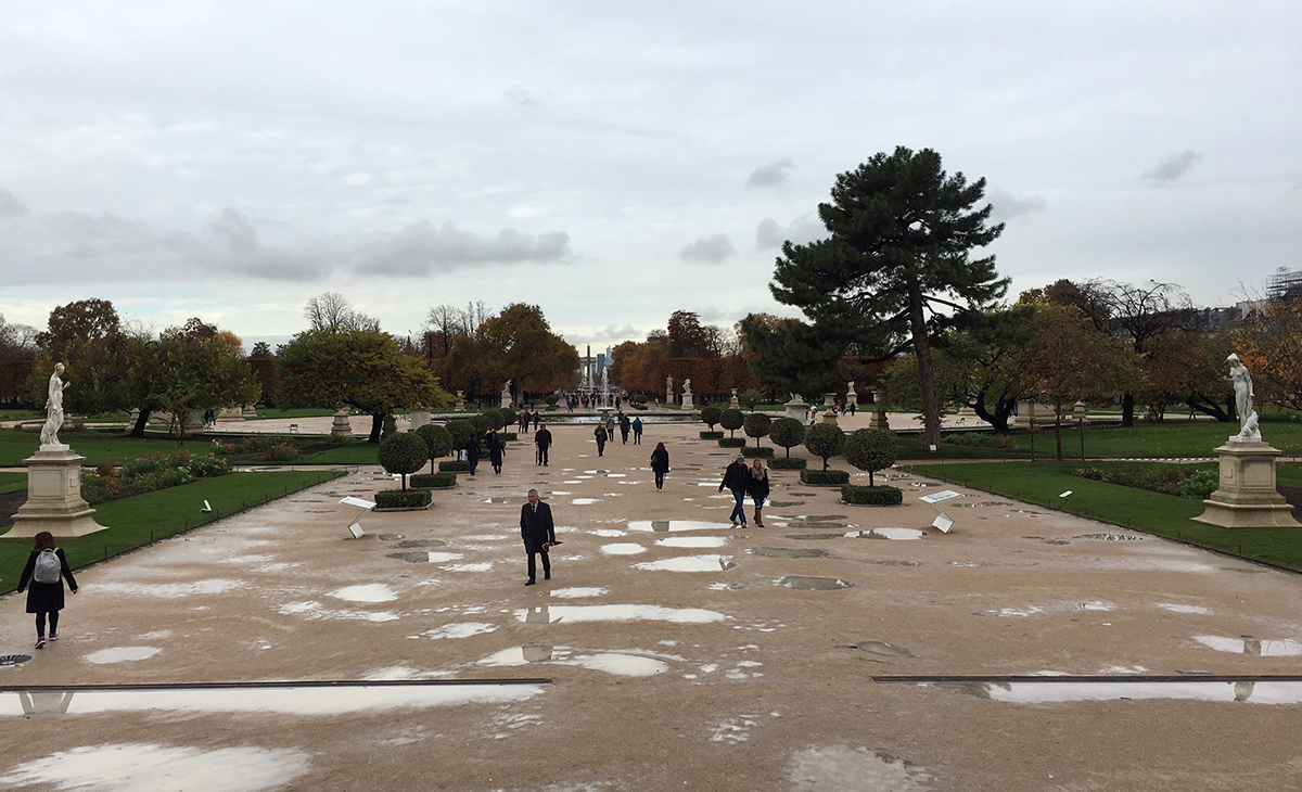 Puddle-Riddled Tuileries Gardens // The Downsides of Off-Peak Travel // Our Next Life, early retirement, financial independence, FIRE, retire early, work optional