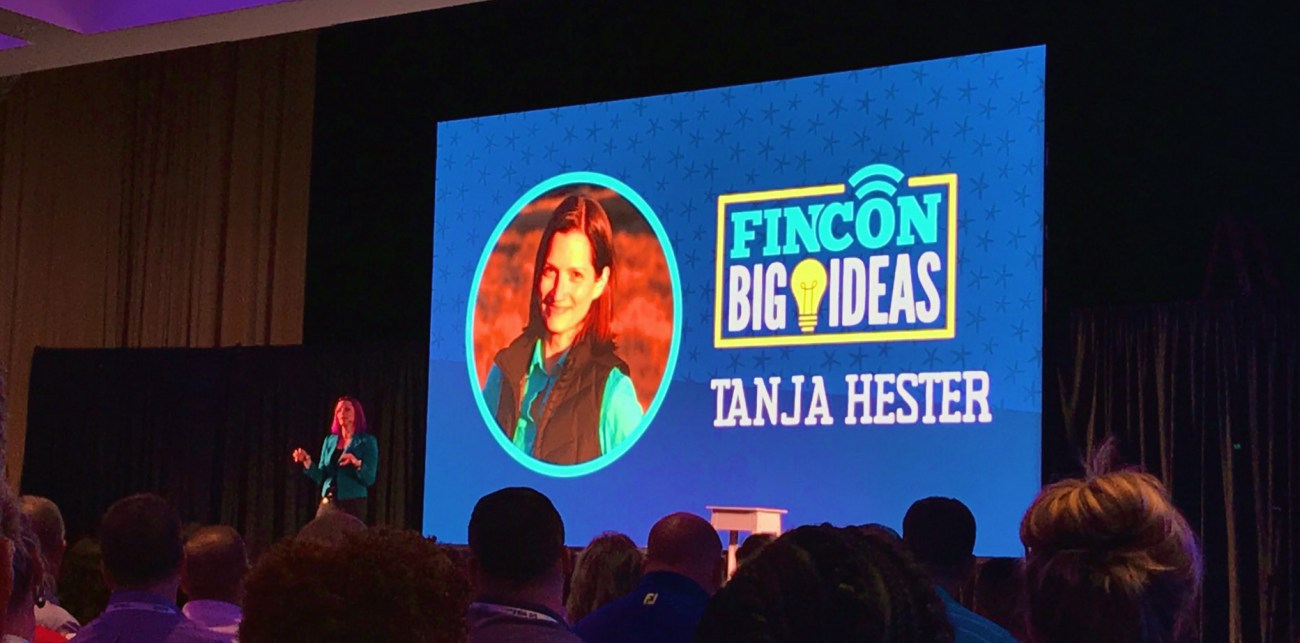 Tanja Hester, author of Work Optional, on the main stage at FinCon19