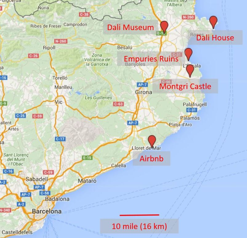 Our home base and major sights in Costa Brava