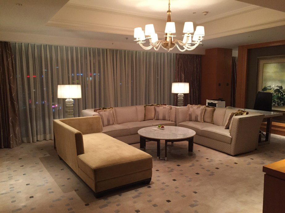 Living room of our suite at the Shanghai Marriott Hotel City Center