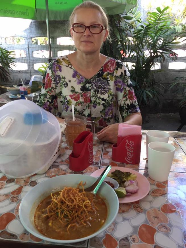 Tasty lunch of Kao Soi for 98 cents USD. Susan's lotus root drink cost 42 cents.