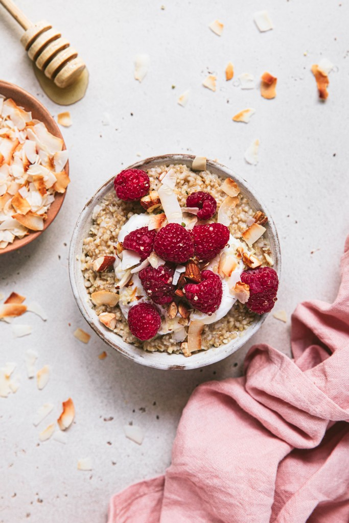 steel cut oats with raspberries