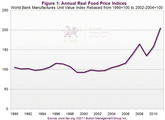 Outlook 2011: Three Dominant Factors Will Impact Precious Metals in 2011 | Annual Real Food Price Indices