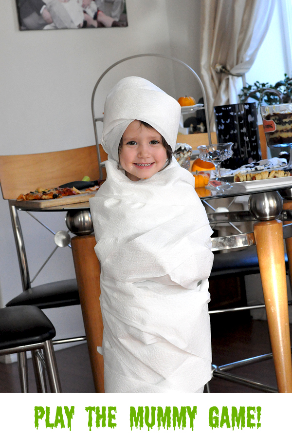 brooklin in toilet paper mummy costume