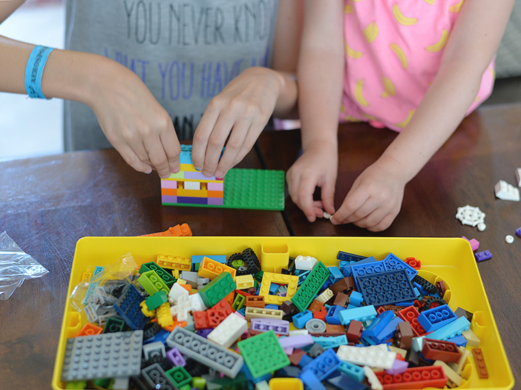 kids playing with LEGO Classic