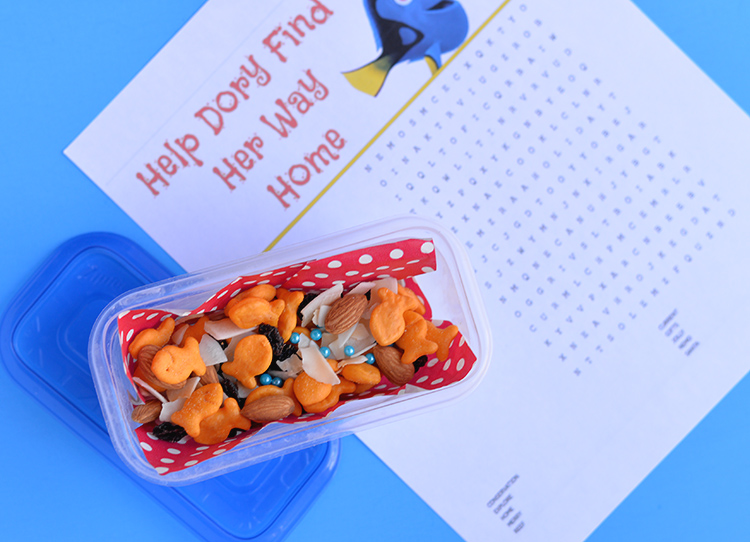 finding dory travel snack word search