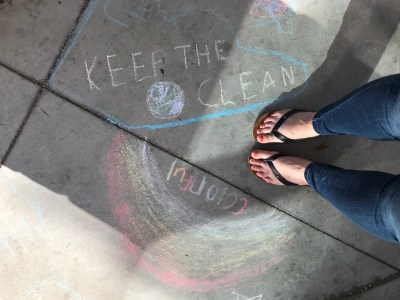 chalk on sidewalk keep the earth colorful
