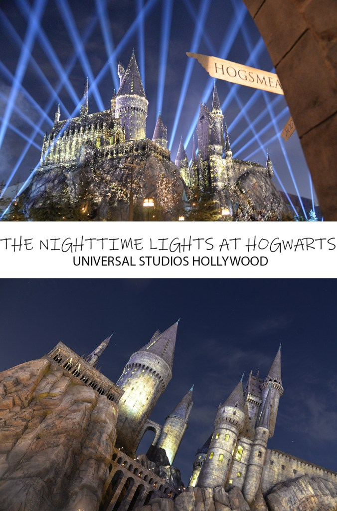 THE NIGHTTIME LIGHTS AT HOGWARTS UNIVERSAL STUDIOS HOLLYWOOD