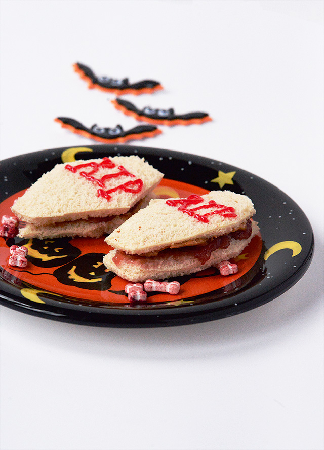 Fun Peanut Butter and Jelly Sandwich Halloween Themed Snack