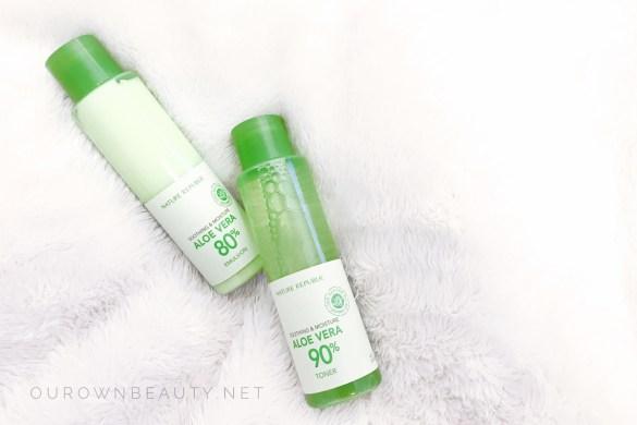 bộ dưỡng da lô hội nature republic aloe vera toner emulsion review mỹ phẩm skincare