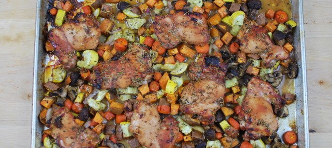 Oven Roasted Honey Dijon Chicken and Vegetables – in One Pan!