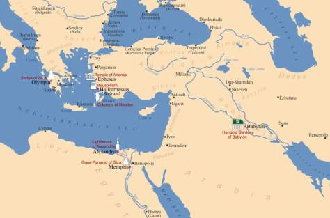 Locations of the Seven Wonders of the Ancient World