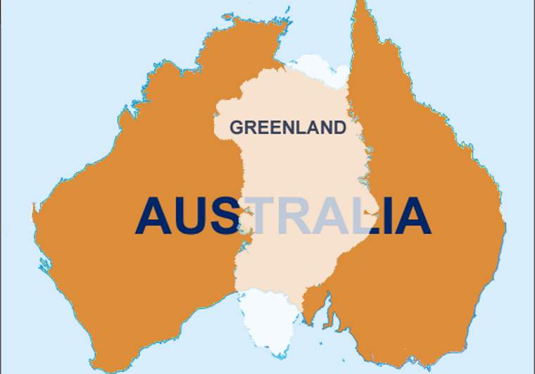 Australia - Greenland overlay (featured)