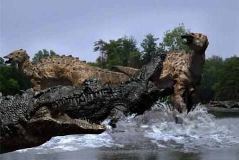 Deinosuchus attacks