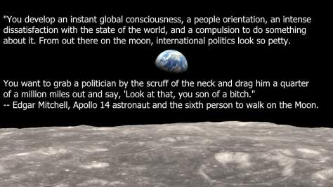 Earthrise from Moon & Edgar Mitchell quote