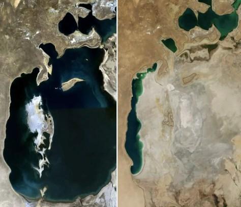 Recently Lost Natural Wonders - Aral Sea (1989 vs 2014)