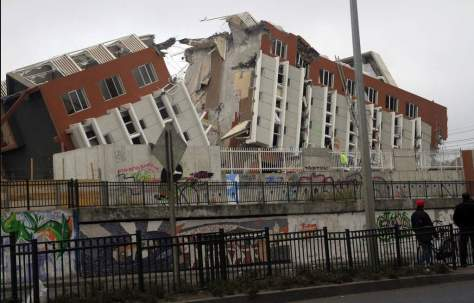 A destroyed building after 2010 Chile earthquake