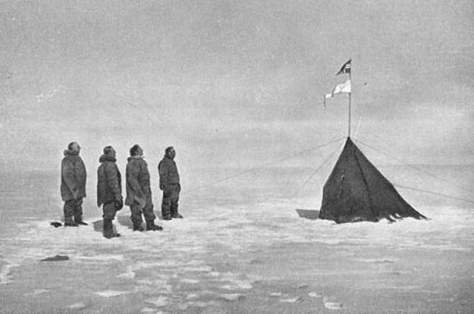 Roald Amundsen and his team at South Pole