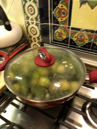 Steaming jalapeños and tomatillos