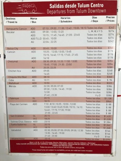 ADO bus route costs