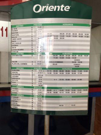 Bus schedule for Izamal