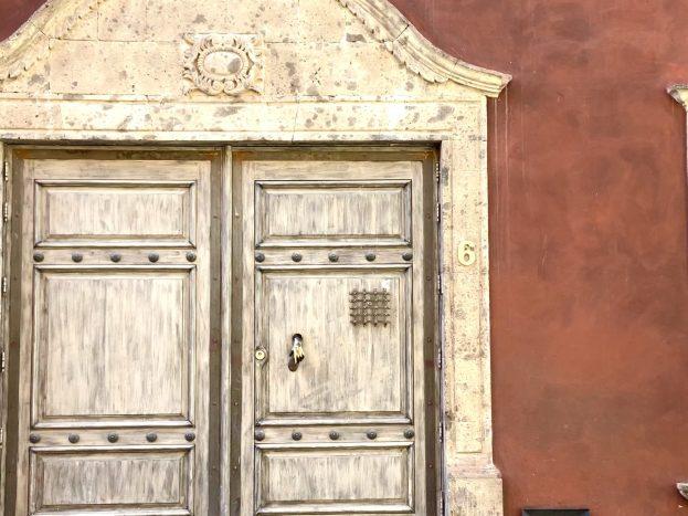 The carved door