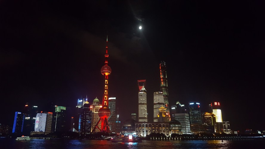 Shanghai Skyline Night Huangpu River
