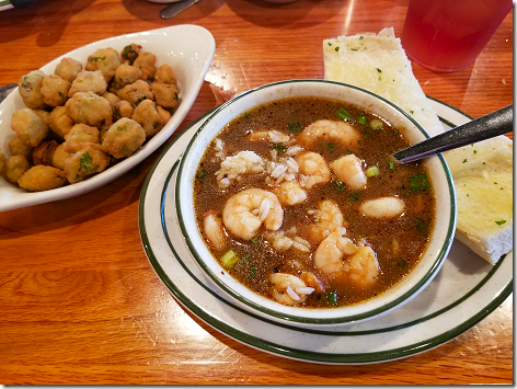 Floyd's Shrimp Guinbo and Fried Okra