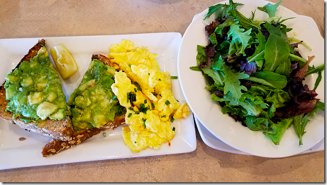 Egg and I Avocado Toast and Greens