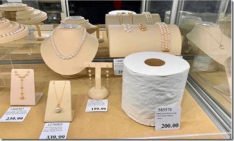 Costco Jewelry Toilet Paper Display