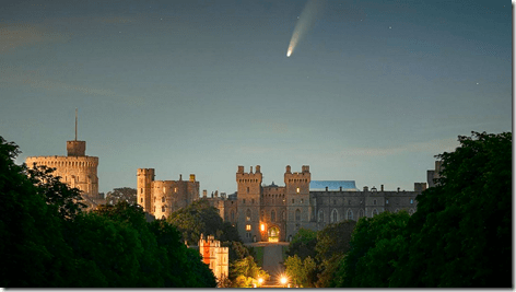 Comet NEOWISE over Windsor Castle