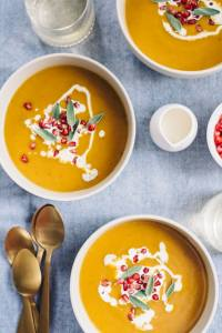 Butternut Squash Soup with Pomegranate is a seasonal nutritional powerhouse. Delicate butternut squash and rich bone broth come together for a velvety soup that is the perfect balance of sweet and savory. Pomegranate seeds add a fun little pop to every bite. This soup is naturally paleo and gluten-free. #wholefood #realfood #paleo #whole30