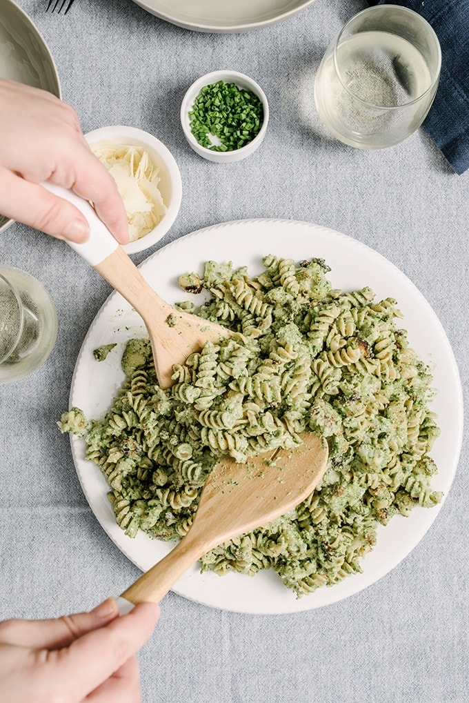 I absolutely love pesto and this fast, healthy, weeknight winter version does not disappoint. With fluffy ricotta and delicate spinach, it's a fantastic meal for those end of winter nights when you are craving summer foods but the farmer's market just won't cooperate. Winter spinach and ricotta pesto at Our Salty Kitchen.