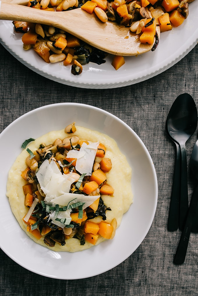 This vegetarian white bean and butternut squash ragout is a hearty, nutritious winter stew. Serve it over polenta, rice, or crusty bread. For a grain-free option, serve over pureed or riced cauliflower.