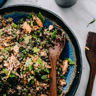 Honey Soy Salmon Salad with Quinoa and Snap Peas