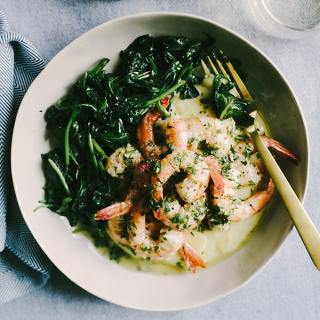 Lemon Butter Shrimp over Polenta with Wilted Greens