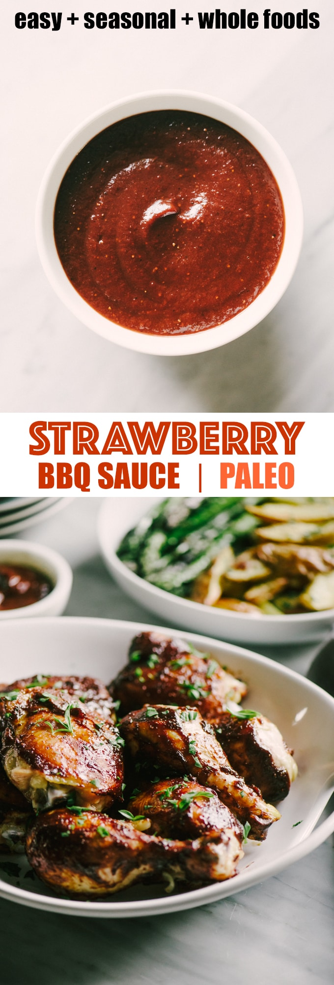 This paleo strawberry BBQ sauce is sweet and tangy, and a perfect companion to juicy grilled bone-in pastured chicken. Be sure to make an extra batch of this paleo BBQ sauce to tuck into the freezer for a fast, easy, weeknight dinner. #healthy #wholefood #realfood #eatclean #paleo