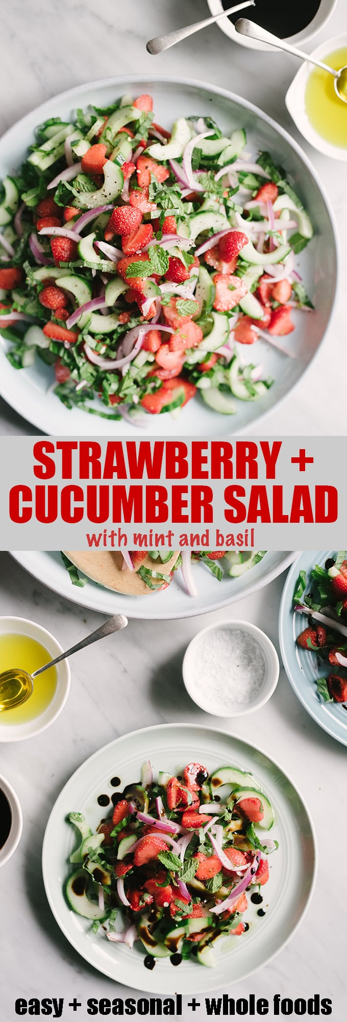 This strawberry cucumber salad recipe is sweet and refreshing with a satisfying crunch in every bite. It's naturally vegan, vegetarian, and gluten-free and an easy and fast summer lunch or side dish. #healthy #wholefood #realfood #eatclean #vegan #vegetarian